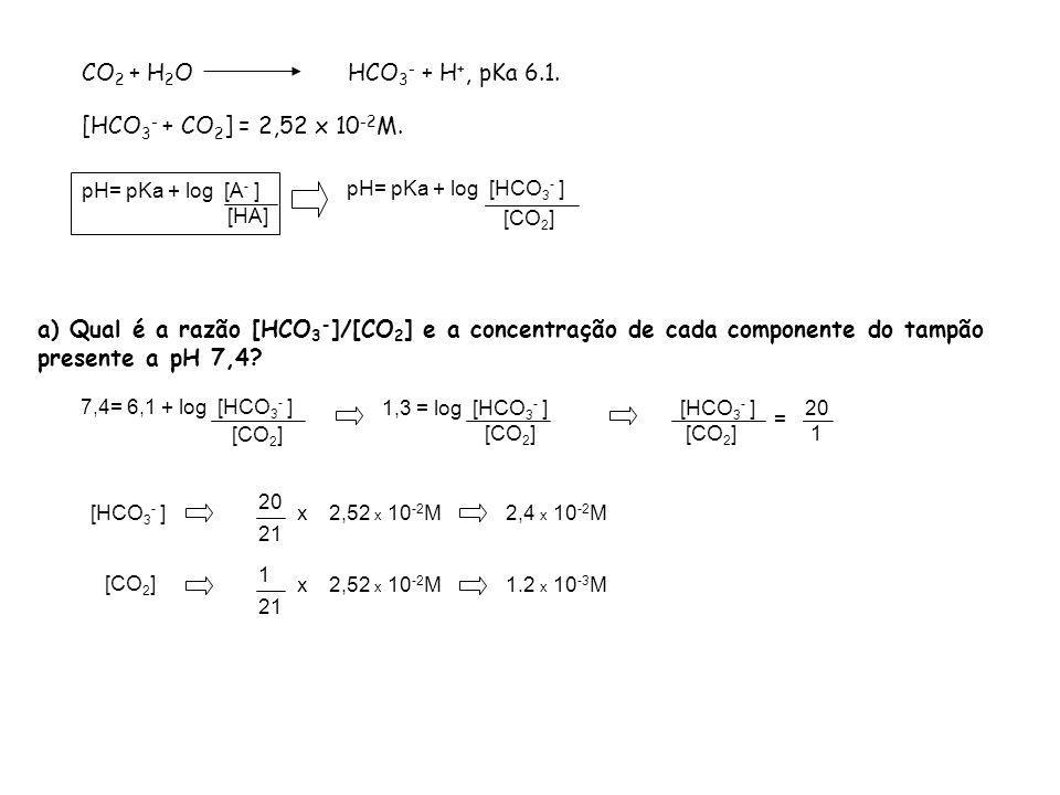 CO2 + H2O HCO3- + H+, pKa 6.1. [HCO3- + CO2] = 2,52 x 10-2M.